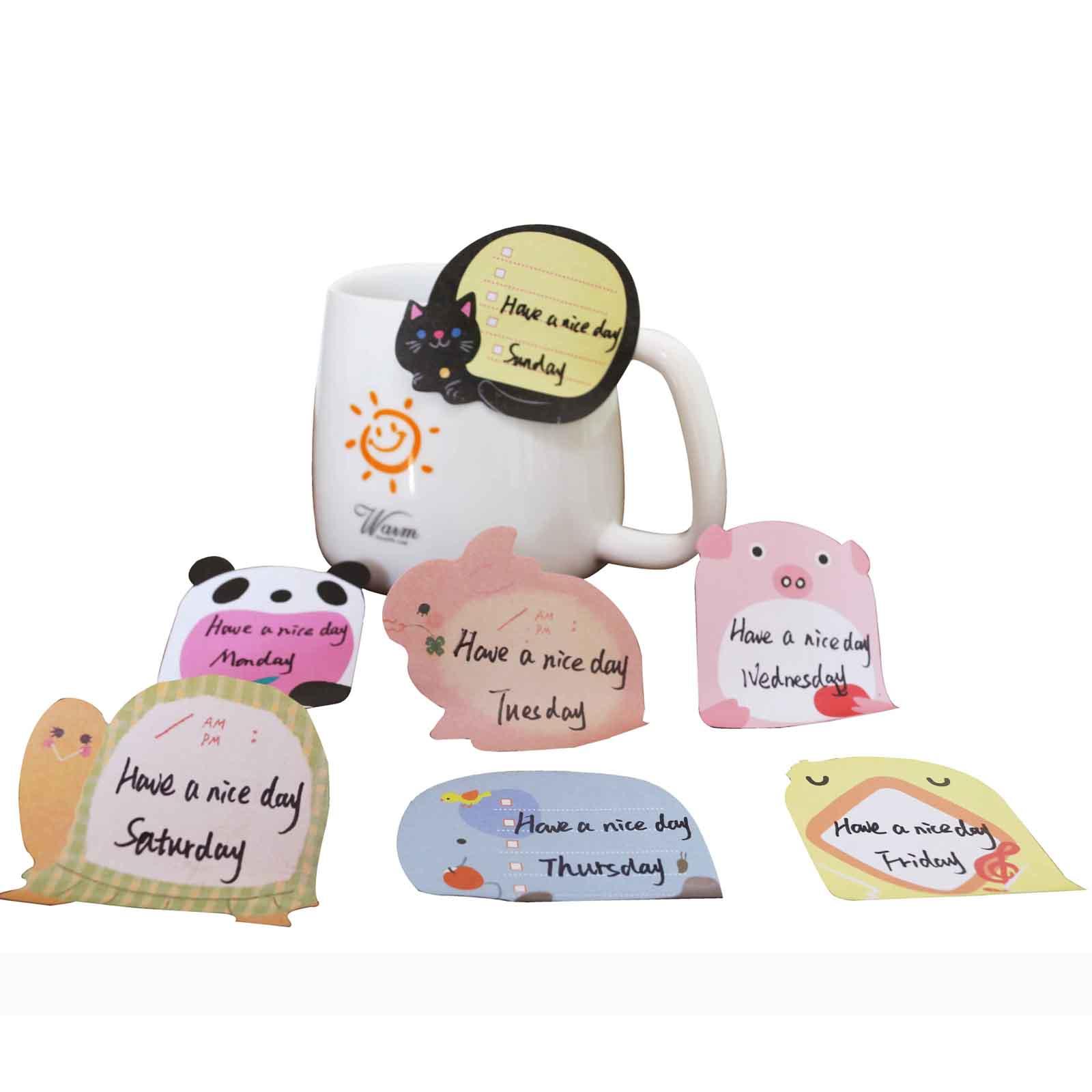 Стильные клейкие заметки с милыми мультяшными животными для школ, студентов, детского сада, семейного и офисного использования
