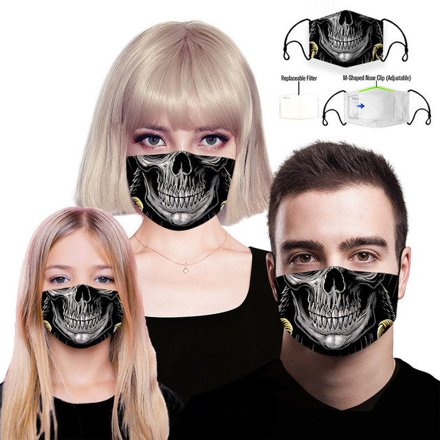3pcs/set Skull Reusable Face Mouth Mask PM2.5 Filter Anti-Dust Protective Kids Man Woman Cartoon Washable Mouth Cover Masks 5