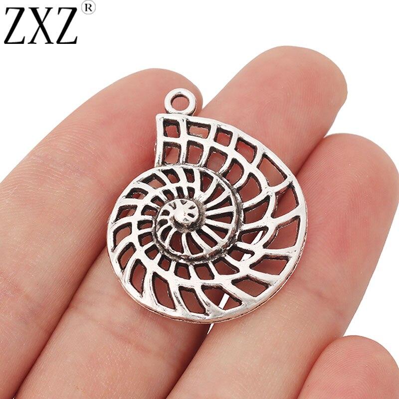 Zxz 10 pçs concha mar caracol espiral mar encantos pingentes para colar brinco jóias fazendo descobertas