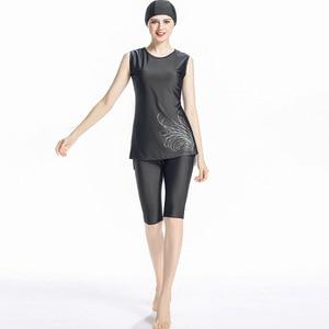 Image 2 - イスラム教徒の女性の水着ノースリーブイスラム女性水着ツーピース水着保守的なショートburkini水泳パンツ3in1