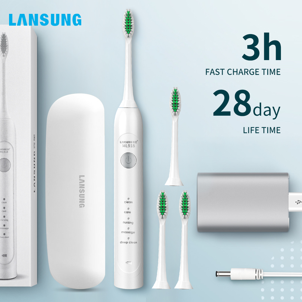 Lansung Sonic Electric Toothbrush USB Rechargeable Adult Ultrasonic Toothbrush Heads Replacements Whitening Smart Travel Case