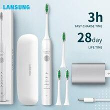 Lansung sonique brosse à dents électrique USB Rechargeable adulte Ultra sonique brosse à dents têtes remplacements blanchissant étui de voyage intelligent