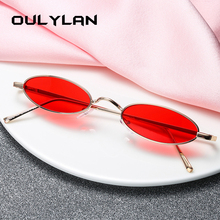Oval Sunglasses Metal-Frame Classic Round Women Brand UV400 Oulylan Tiny Red Ladies