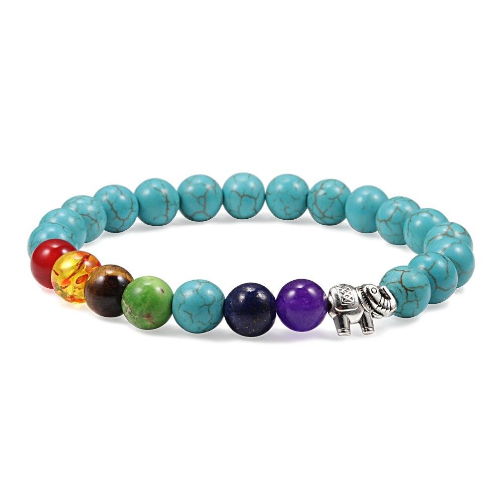 Reiki 7 Chakra Bracelet Men Women Alloy Elephant Natural Turquoises Stone Lava Beads Strand Bracelet Bangles Yoga Jewelry Gifts