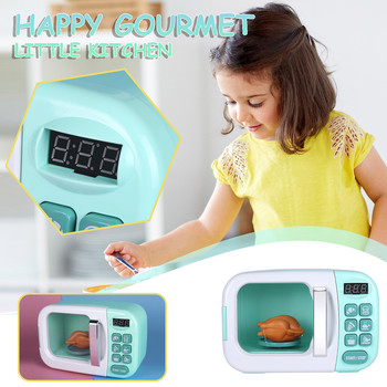 Kitchen Game Simulation Microwave Oven Large With Lighting And Sound Effects Fun Cooking Food Children Toy