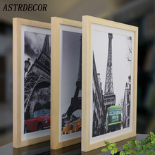 ASTRDECOR Wooden Frame A4 A3 Black White Wooden Nature Solid Picture Photo Frame with Mats for Wall Mounting Hardware Included