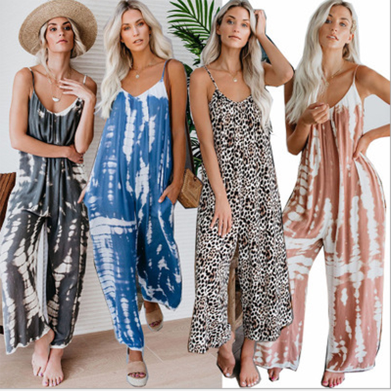 Womens Summer Loose Wide Legs Jumpsuit Sling Long Sleeveless High Waist Plus Size Bodysuit Ladies Print O-Neck Casual Rompers