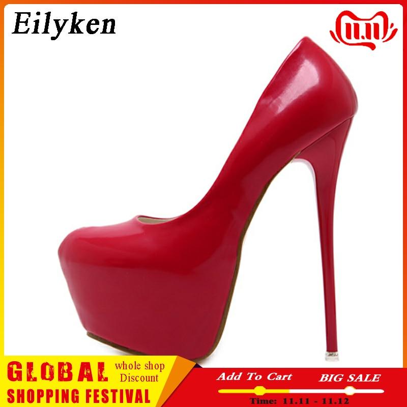 Eilyken Spring/Autumn Sexy Wedding Fetish Round Toe Woman Pumps Platform Very High Heel Pumps 16 Cm Black Red