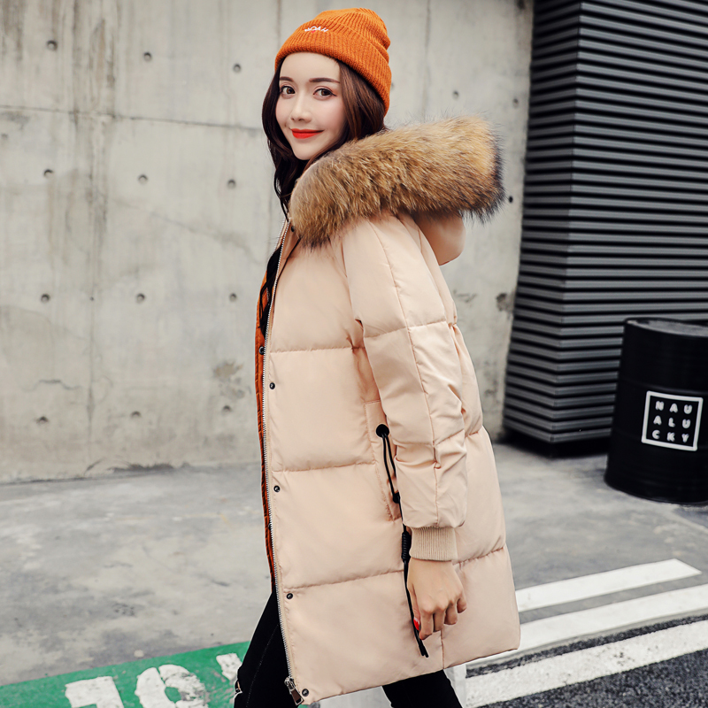 Women's Winter Down Jacket 2020 Long Puffer Duck Down Coat Large Raccoon Fur Collar Warm Doudoune Femme Hiver KJ3536