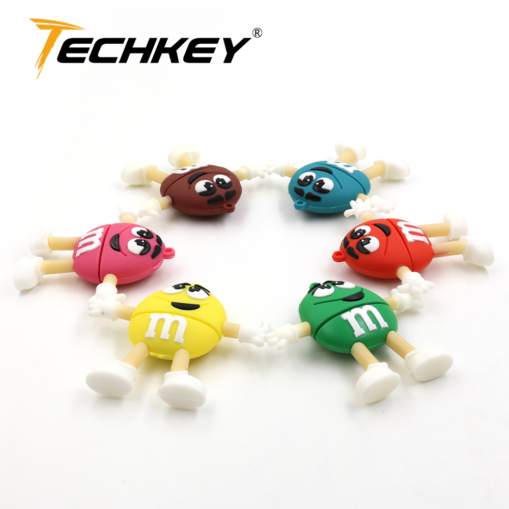 Flash Drive флешка 16gb 8gb Pendrive 32gb 64gb 128gb U Disk Cute M&M Rainbow Beans Flash Memory Lovely Usb Pen Drive Hot Sale