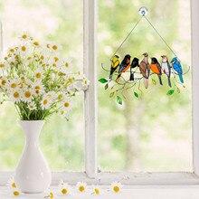 40# Colorful Birds Yard Garden Decor Hanging Suncatcher Panel Window Suncatchers Vintage Bird Ornaments Décoration De Jardin