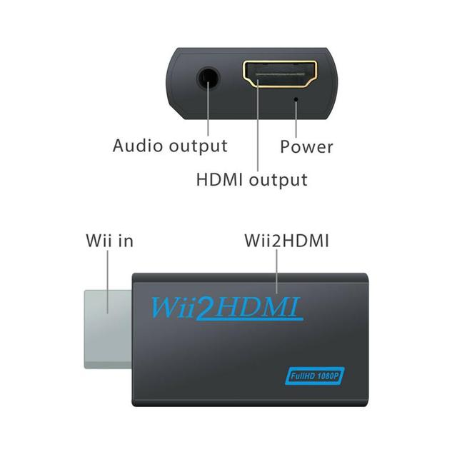 Full HD 720P 1080P Wii To HDMI Converter Adapter WiiHDMI Converter 3.5mm Jack AUX Audio Video Output For PC HDTV Monitor Display