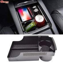 Car Cup Holder Center Console Organizer For Tesla Model S / X Armrest Storage Box Container Tray 2016 2017 2018 2019 2020 2021