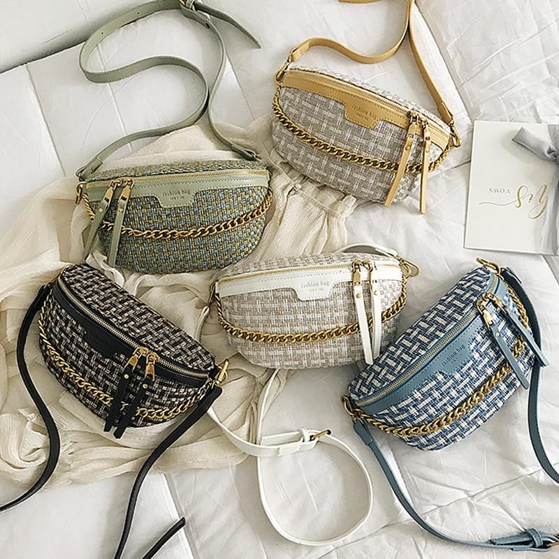 Women Waist Bag Fanny Pack Fashion Belt Bag Hip Package Straw Chain Chest Bags Shoulder Messenger Packs Female PU Waist Pack