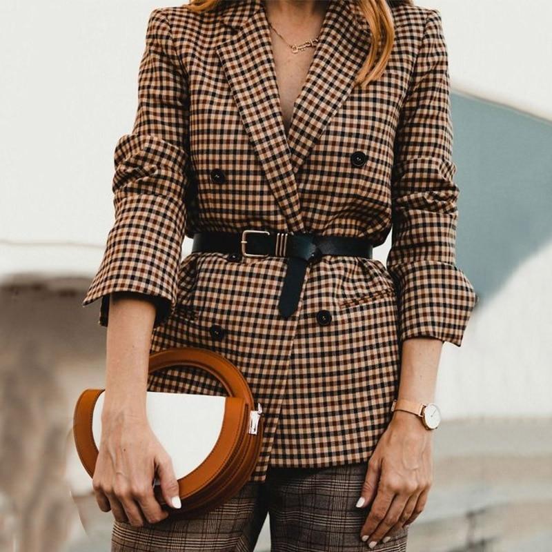 Motina Julia 2018 Fashion Plaid Blazer Coat Women Autumn Witner Streetwear Double Breasted Outerwear Blazer Jackets