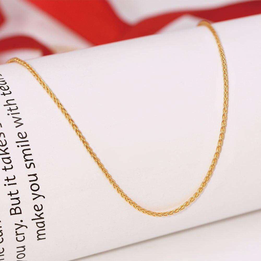XP Jewelry- (45 см x 1,2 мм) небольшое плетеное ожерелье из чистого золота 24 карата для мужчин и женщин модные украшения хорошего качества