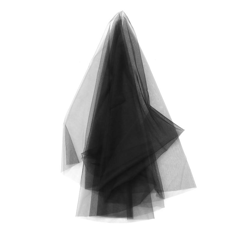 Black Bridal Veil Single Layer Wedding Veil Hair Accessories Soft Veil Dress Up Props For Bride Women Wedding Accessories