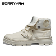 Men High Top Canvas Shoes Military Tactical Boots Desert Combat Outdoor Army Travel Ankle Gray Black Sorrynam