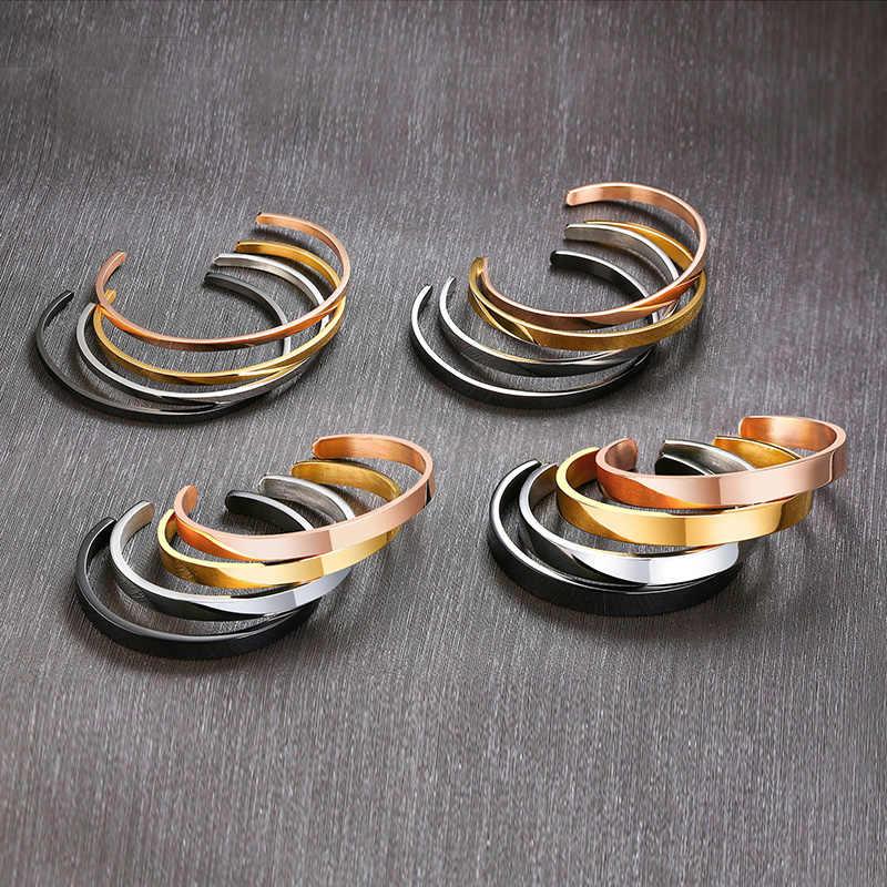 Wiele szerokość bransoletka mankiet Bangle kobiety różowe złoto srebro metalowe ze stali nierdzewnej nie znikną