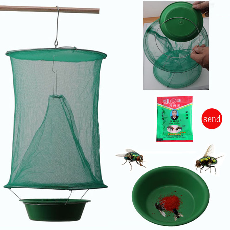 OGFFHH Health 1PCS Pest Control Reusable Hanging Fly Catcher Killer Flies Flytrap Zapper Cage Net Trap Garden Home Yard Supplies