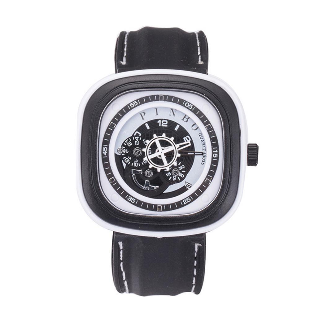 Sport Men's Large Square Dial Silicone Strap Analog Quartz Wrist Watch Decor Relogio Feminino Erkek Kol Saati мужские часы