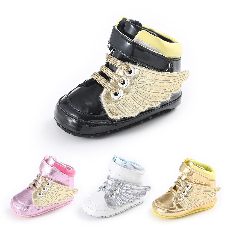 Infant Newborn Baby Girls Angel Wing Design Spring Lace-Up First Walkers Sneakers Shoes Toddler Classic Casual Shoes