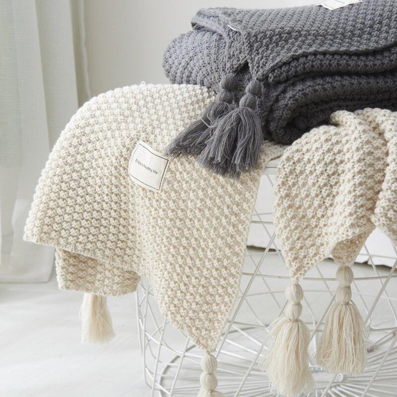 Cobertura da linha com borla sólido bege cinza café lance cobertor para cama sofá têxtil casa moda capa 130x170cm de malha tapete