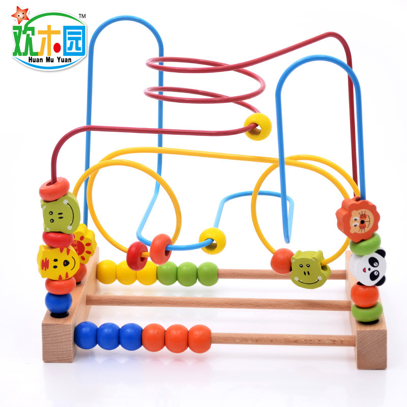 Wooden Large Size Desktop Beaded Bracelet Animal Maze Bead-stringing Toy Children Threading Toy Baby Educational Toy 1-3 Years O