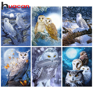 Huacan Diamond Painting 5d Owl Diamond Embroidery Sale Winter Pictures Of Rhinestones Mosaic Home Decoration