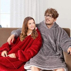 Image 5 - Oversized Hoodies Sweatshirts Women Plaid Blanket Wearable Hoodie Blanket with Sleeves Winter Hooded Sweatshirts Sherpa Blanket
