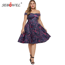 SEBOWEL Woman Off Shoulder Floral Printed Plus Size Dress Short Sleeve Knee-Length High Waist Flared Dresses Large XL-5XL