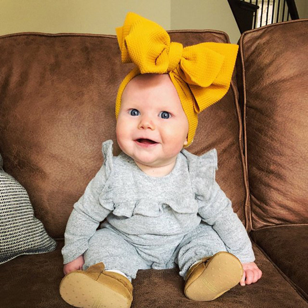 Baby Accessories Infant Baby Girl Cute Soft Bow Headband Newborn Solid Headwear Headdress Nylon Elastic Hair Band Gifts Props