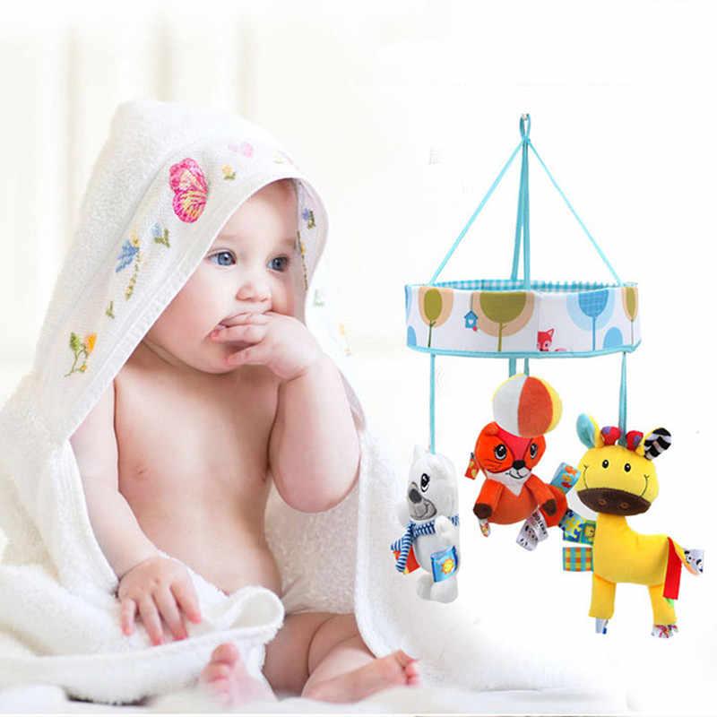 360 градусов Поворот мягкая кровать колокольчик детские погремушки в кроватку мобильные телефоны обучающая игрушка кролик Музыкальная Коробка Игрушки для малышей, новорожденных плюшевые игрушки