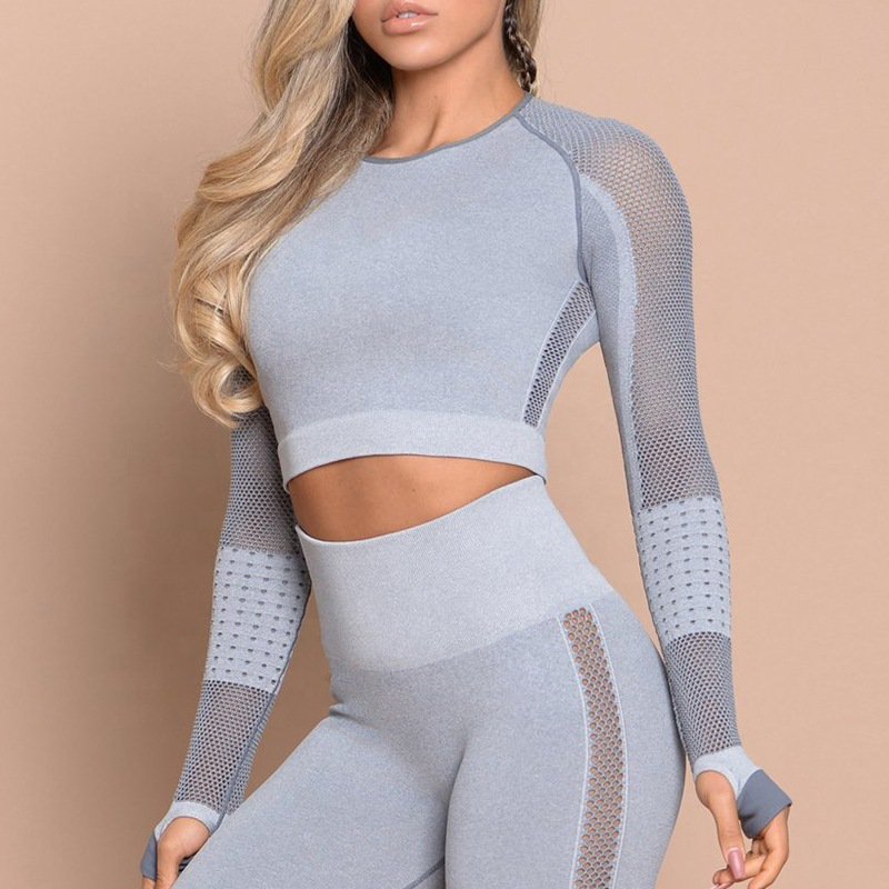 Women Sport Suit Yoga Sets Gym Workout Clothes Long Sleeve Fitness Crop Top High Waist Energy Seamless Leggings Gym Leggings