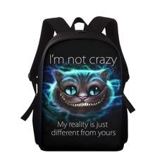 School-Bags Smile-Cheshire Kids Backpack Cat-Print Teenagers Girls Boys Children 15inch