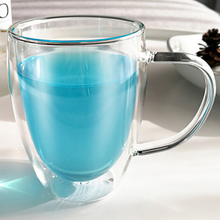 250/350/450ml Heat Resistant Double Wall Heat Resistant Glass Cup Office Home Coffee Tea Handle Mug With Handle Drinking Glasses