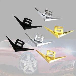 Image 5 - Diseño de coche 3D Metal V6 V8 3D cromado coche traseras pegatinas emblema insignia etiqueta para audi A3 A4 A7 mercedes Accesorios