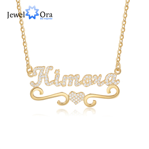 Customized Letter Nameplate Pendant with Heart Personalized Full Zirconia Paved Name Necklaces for Women Friendship Gifts
