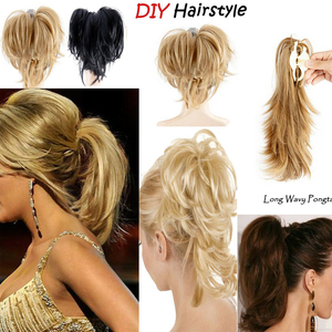 1pcs Messy Bun Ponytail Hair Extension Synthetic Adjustable & Customizable Updo with Clip on Claw Attach In Ponytail