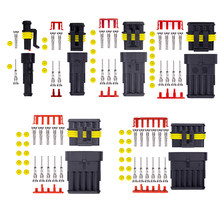 5sets 1/2/3/4/5/6 Pin Way AMP Tyco Super Sealed Automotive Wire Connector Electrical Plug Terminals for Cars