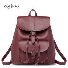 цена на Teenage Girls Female Backpacks Women Backpack Vintage Leather Drawstring School Bag Black Rucksack Brand Shoulder Bags Backbag