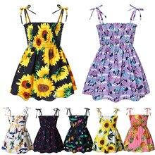 Muababy boho roupas da menina verão vestido de praia do bebê floral sem costas estilingue roupas crianças vestidos de princesa 2-7t