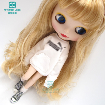 1pcs Blyth Doll Clothes Letter jersey, tights, sports shoes for Blyth Azone OB23 OB24 1/6 doll accessories 1pcs blyth doll clothes fashion denim clothing t shirts shoes for blyth azone ob23 ob24 1 6 doll accessories