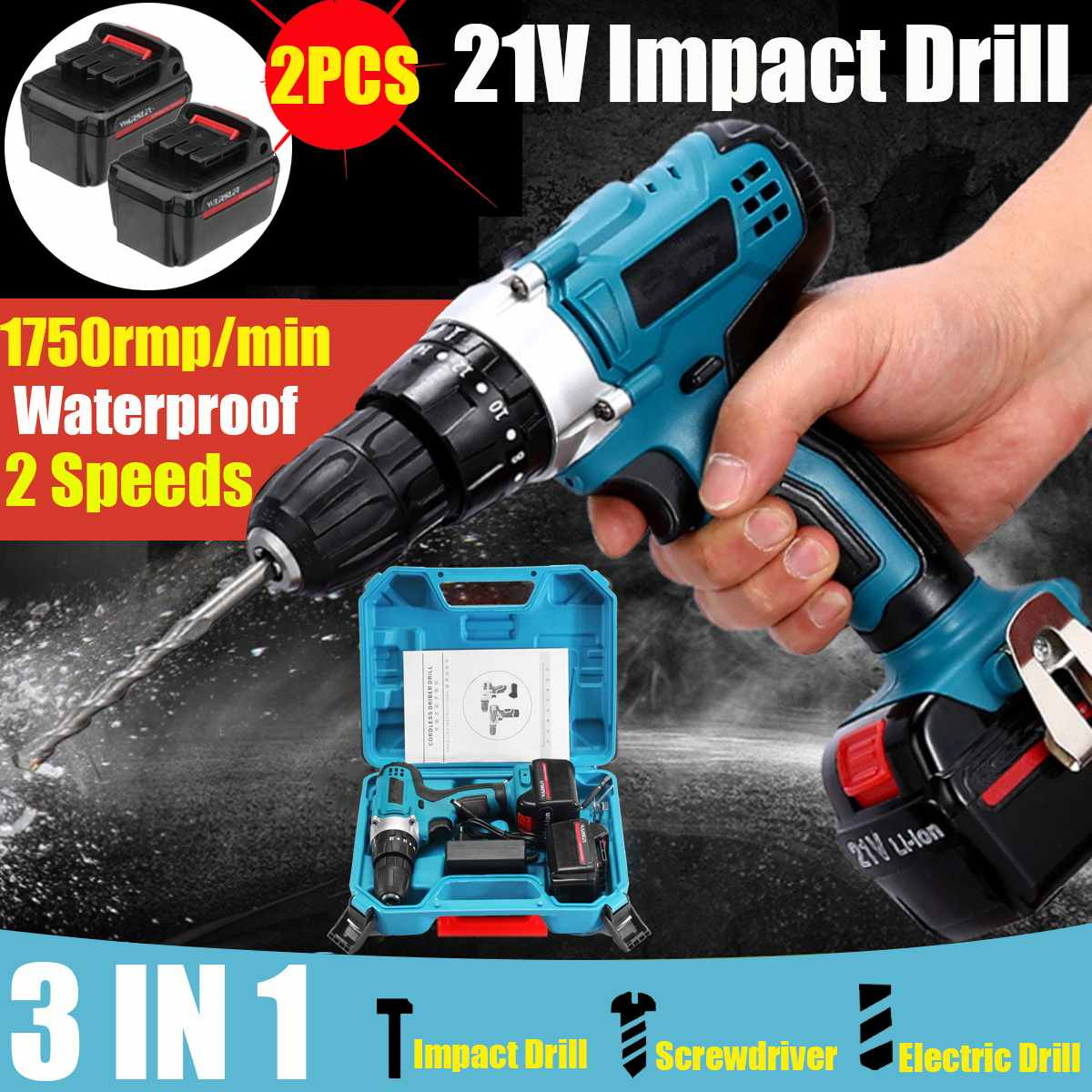 21V Impact Drill Electric Screwdriver Electric Hand Drill Battery Cordless drill Hammer Drill Home Diy Power Tools with box