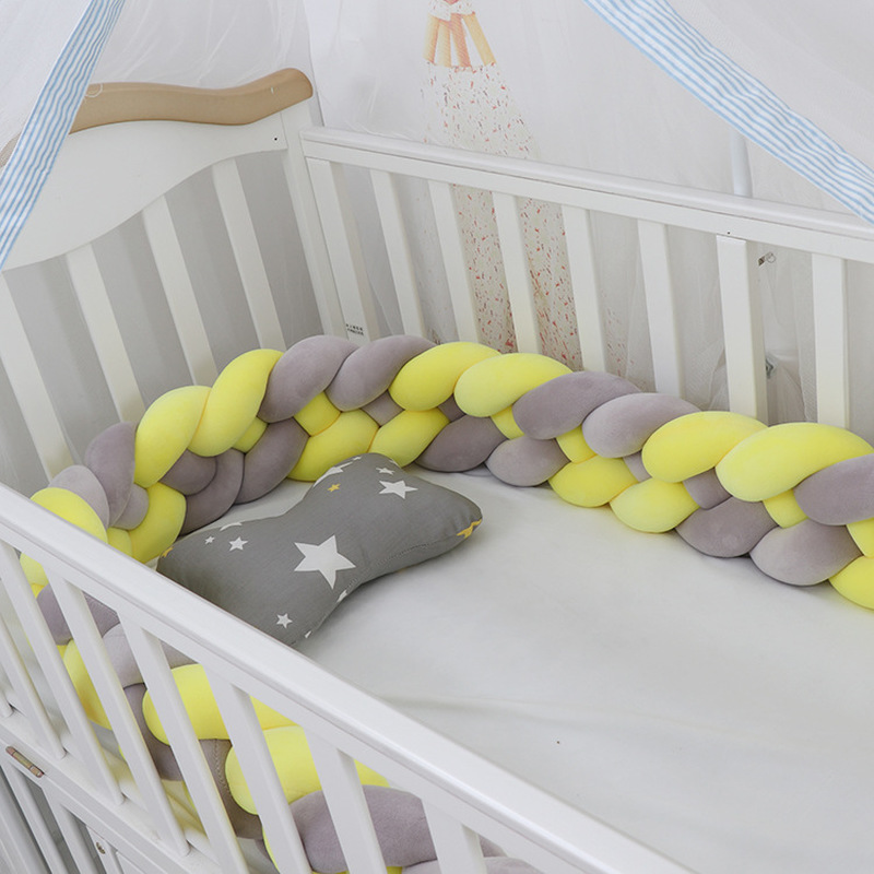 2M Baby Crib Knot Bedding Bumper 4 Strands Baby Woven Plush Bed Bumper For Kids Children Bed Safe Protection More 20 Colors