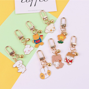 2020 Cartoon Bear Dog Keyring Gold Color Cute Keychain For Women Metal Key Chains Car Bag Pendent Airpods Keychains Accessories(China)