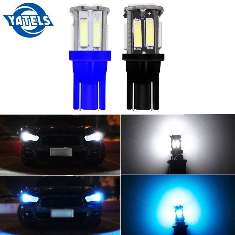 <font><b>4</b></font> PCS W5W 10-7020 <font><b>SMD</b></font> Car <font><b>T10</b></font> LED 194 168 Wedge Replacement Reverse Instrument Panel Lamp White Blue Bulbs For Clearance Lights image