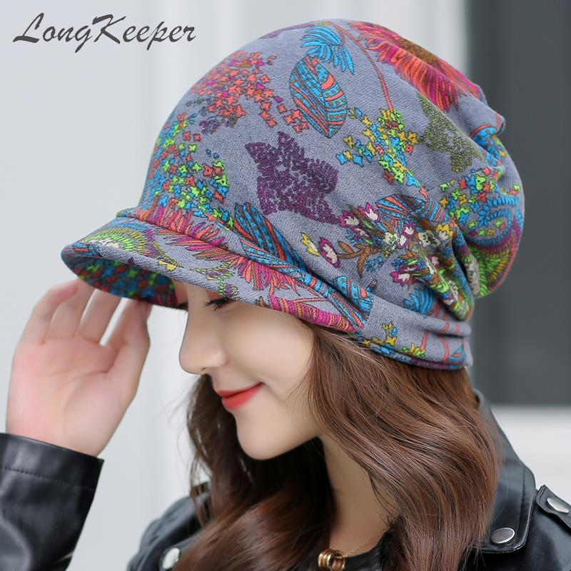 LongKeeper Women's Floral Visor Beanies Female Autumn Winter  Ponytail Vintage Warm Fashion Hat Caps Free Shipping For Brazil