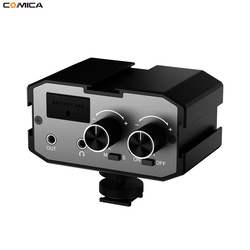 COMICA CVM-AX1 3.5mm Universal dula channels Microphone Amplifier Audio Mixer Adapter for Canon EOS T6i Nikon D3300 DSLR camera