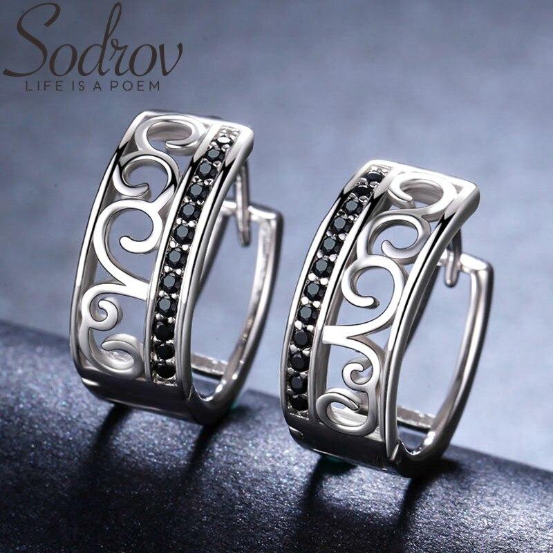 SODROV Genuine 925 Sterling Silver Earrings Crown Hoop Earrings For Women Black Spinel Silver 925 Jewelry II030